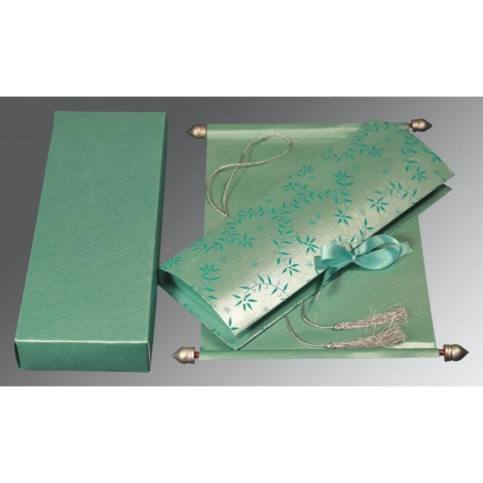 Green Handmade Shimmer Wedding Invitation : SC-5007L - 123WeddingCards