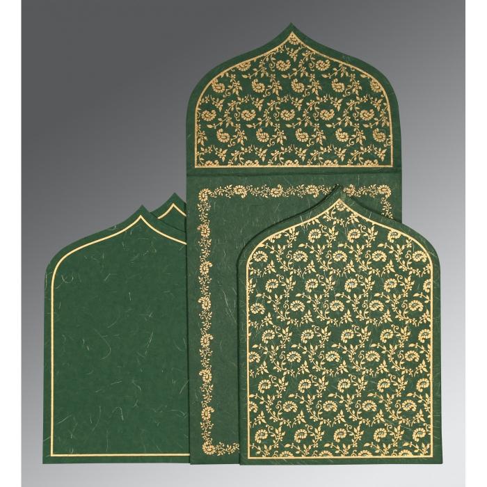 Green Handmade Silk Paisley Themed - Glitter Wedding Invitation : IN-8208L - 123WeddingCards