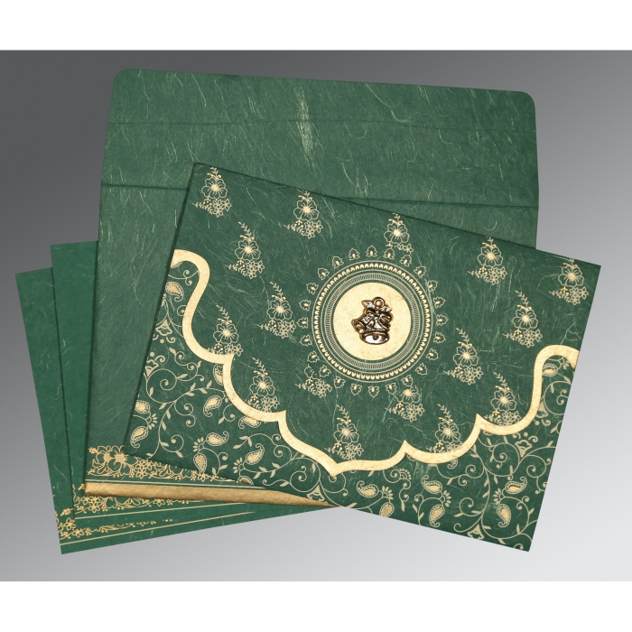 DARK SPRING GREEN HANDMADE SILK SCREEN PRINTED WEDDING INVITATION : C-8207L - 123WeddingCards