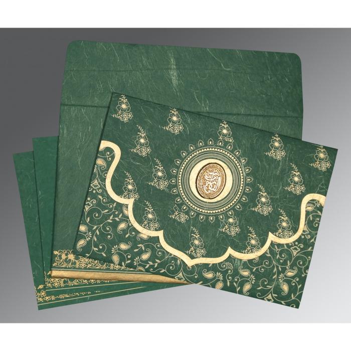 Green Handmade Silk Screen Printed Wedding Invitation : I-8207L - 123WeddingCards