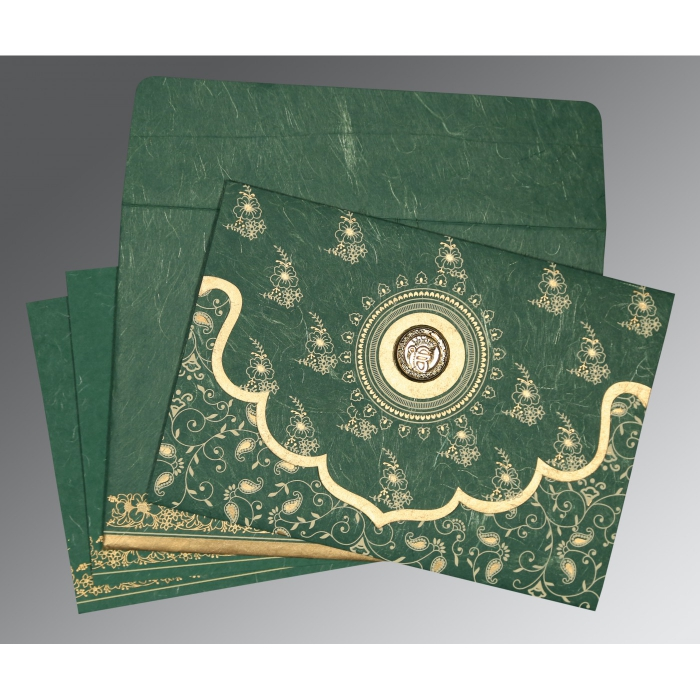 Green Handmade Silk Screen Printed Wedding Invitations : RU-8207L - 123WeddingCards