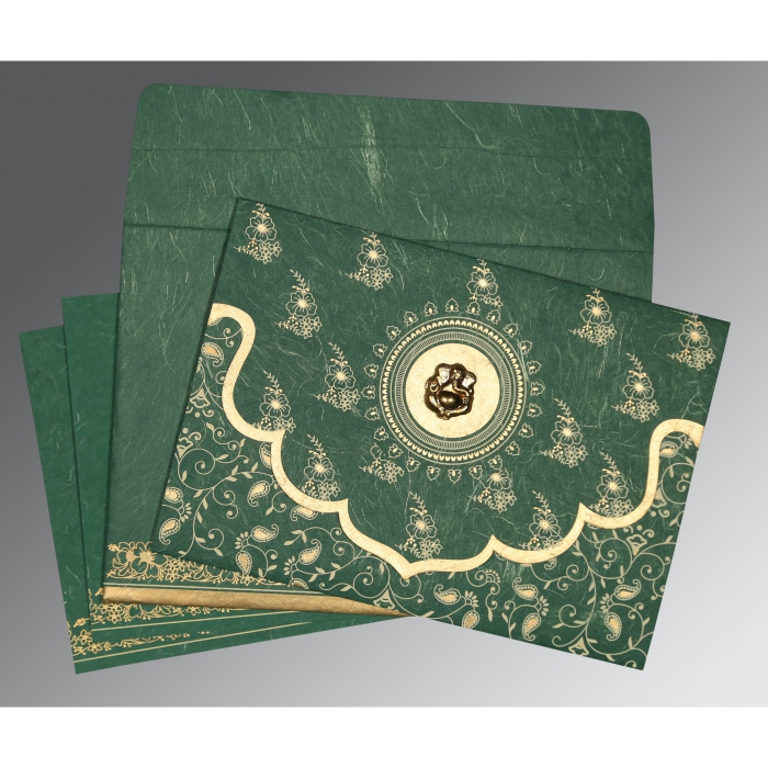 DARK SPRING GREEN HANDMADE SILK SCREEN PRINTED WEDDING INVITATION : W-8207L - 123WeddingCards