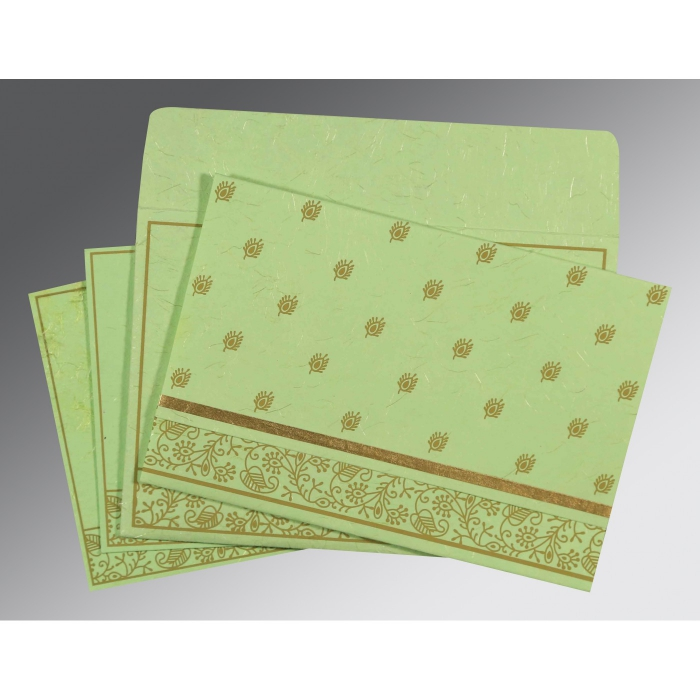 PARROT GREEN HANDMADE SILK SCREEN PRINTED WEDDING CARD : W-8215D - 123WeddingCards