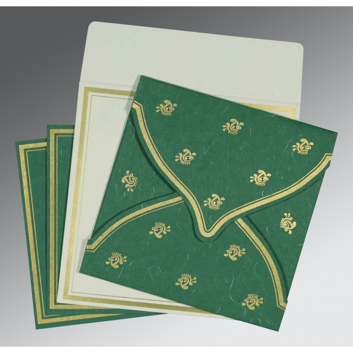 Green Handmade Silk Unique Themed - Screen Printed Wedding Card : I-8203D - 123WeddingCards