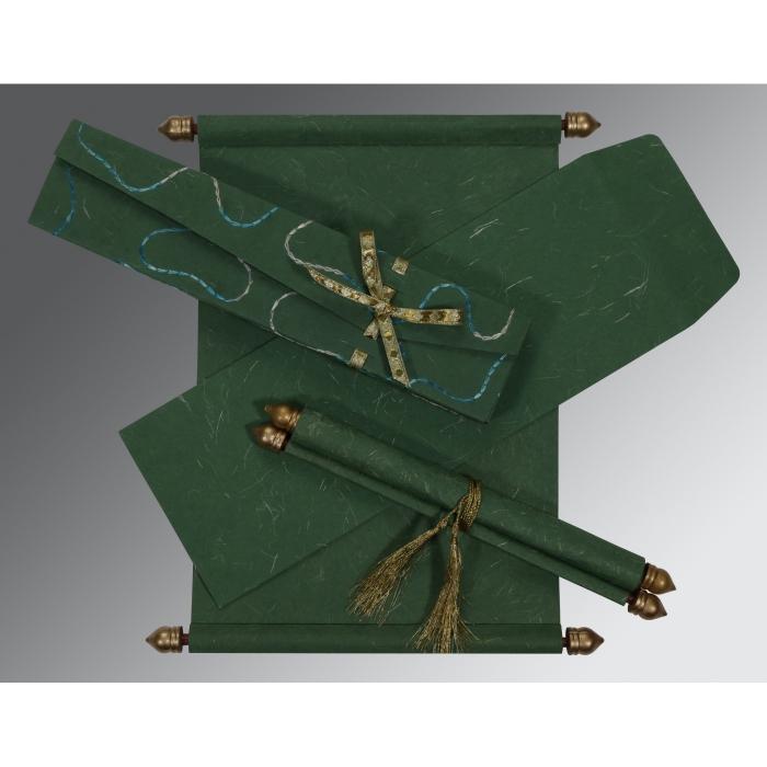 Green Handmade Silk Wedding Invitations : SC-5002G - 123WeddingCards