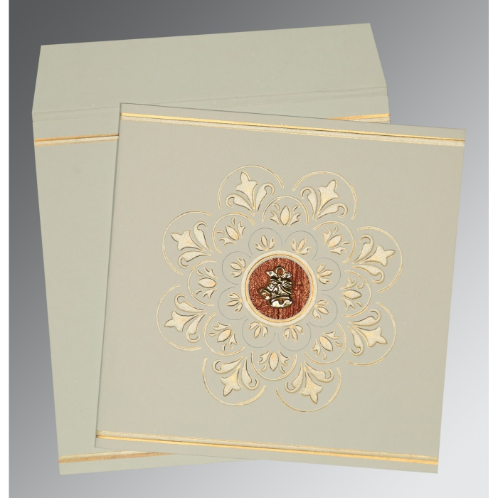 OFF-WHITE MATTE BOX THEMED - EMBOSSED WEDDING CARD : C-1190 - 123WeddingCards