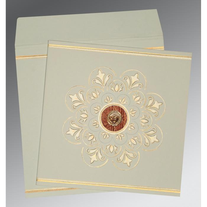 Green Matte Box Themed - Embossed Wedding Invitations : S-1190 - 123WeddingCards