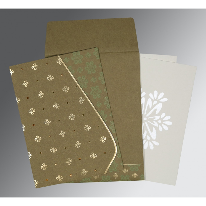 Green Matte Floral Themed - Foil Stamped Wedding Invitation : IN-8237E - 123WeddingCards