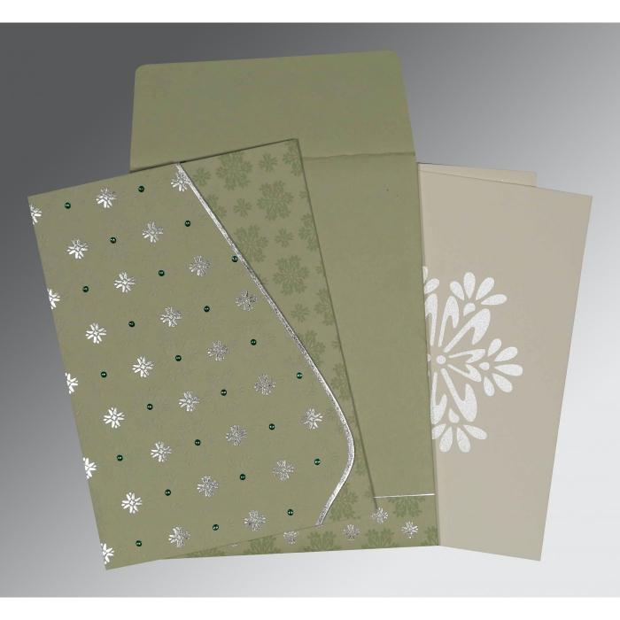 Green Matte Floral Themed - Foil Stamped Wedding Invitation : RU-8237I - 123WeddingCards