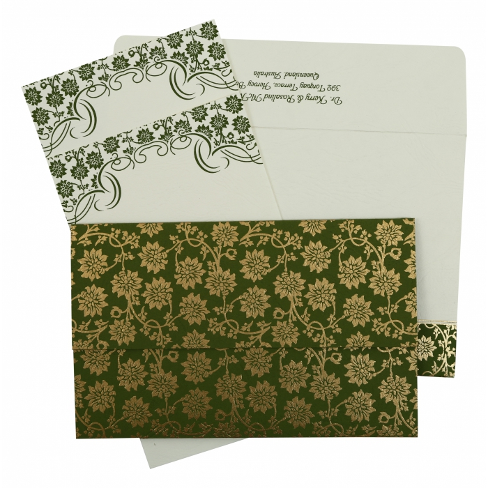 GREEN MATTE FLORAL THEMED - SCREEN PRINTED WEDDING INVITATION : IN-810D - 123WeddingCards