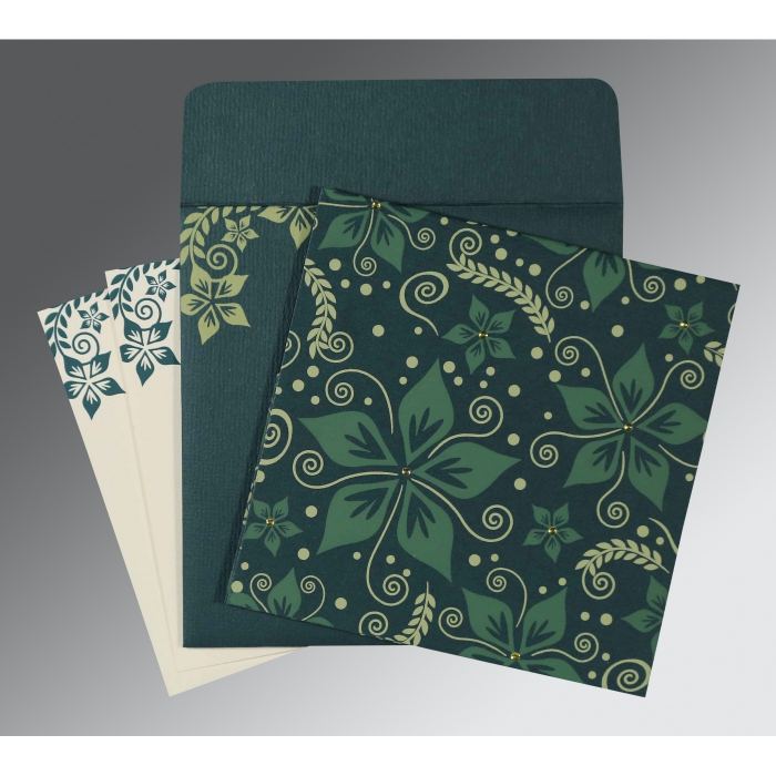 MIDNIGHT GREEN MATTE FLORAL THEMED - SCREEN PRINTED WEDDING INVITATION : C-8240N - 123WeddingCards