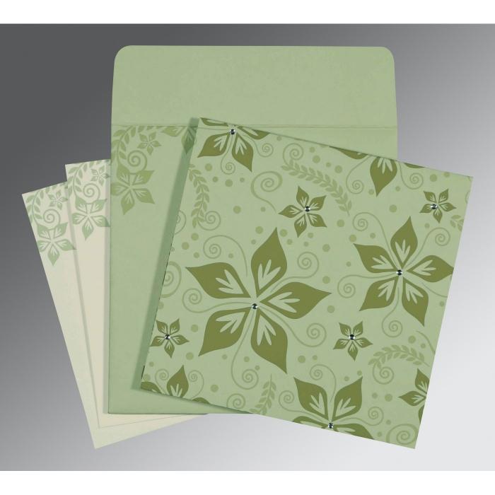 Green Matte Floral Themed - Screen Printed Wedding Invitations : RU-8240I - 123WeddingCards