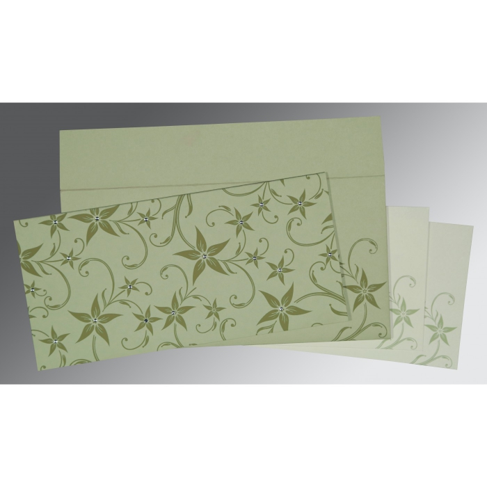 Green Matte Floral Themed - Screen Printed Wedding Invitation : S-8225E - 123WeddingCards