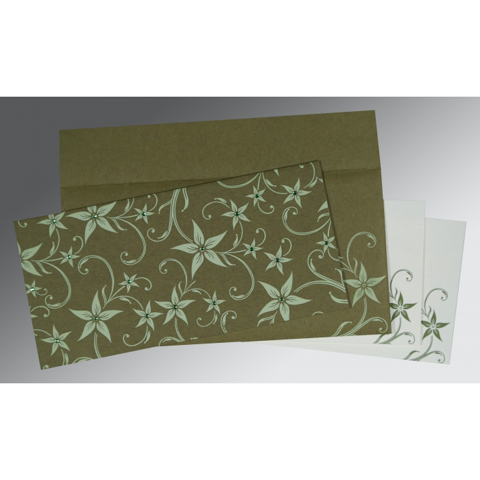 Green Matte Floral Themed - Screen Printed Wedding Invitation : W-8225F - 123WeddingCards