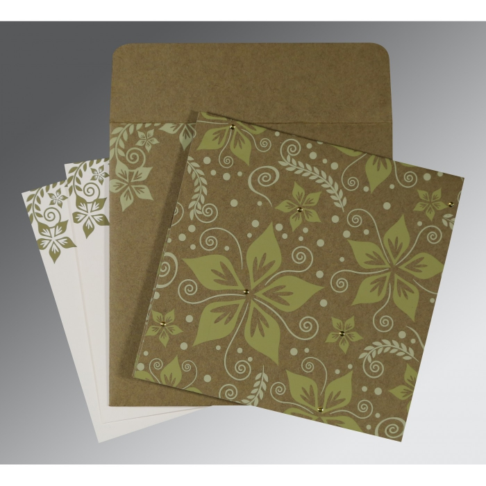 OLIVE GREEN MATTE FLORAL THEMED - SCREEN PRINTED WEDDING INVITATION : W-8240F - 123WeddingCards