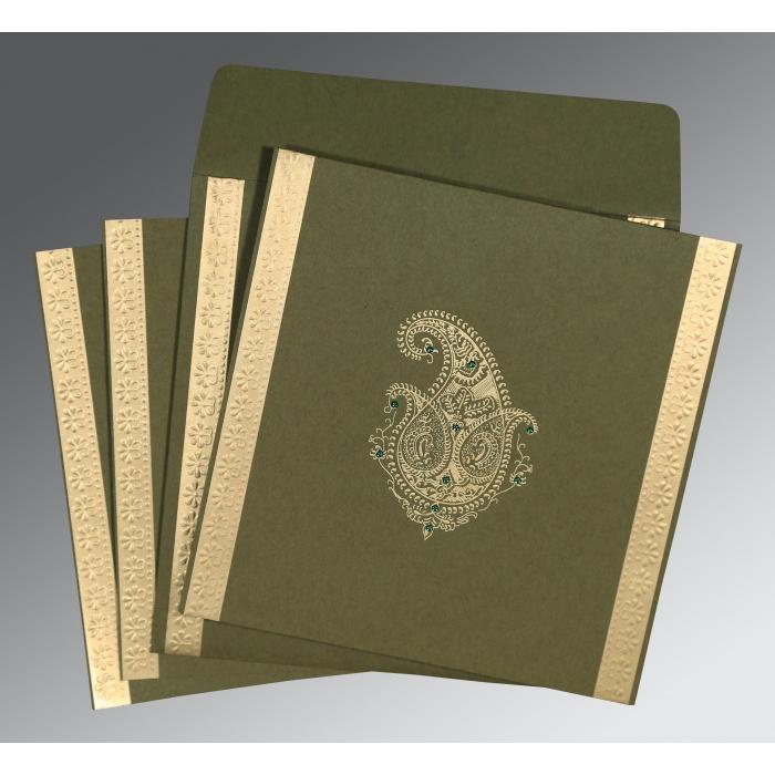 Green Matte Paisley Themed - Embossed Wedding Invitation : G-8231B - 123WeddingCards