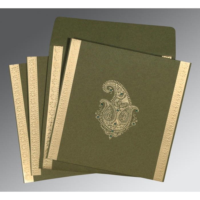 DARK OLIVE GREEN MATTE PAISLEY THEMED - EMBOSSED WEDDING INVITATION : W-8231B - 123WeddingCards