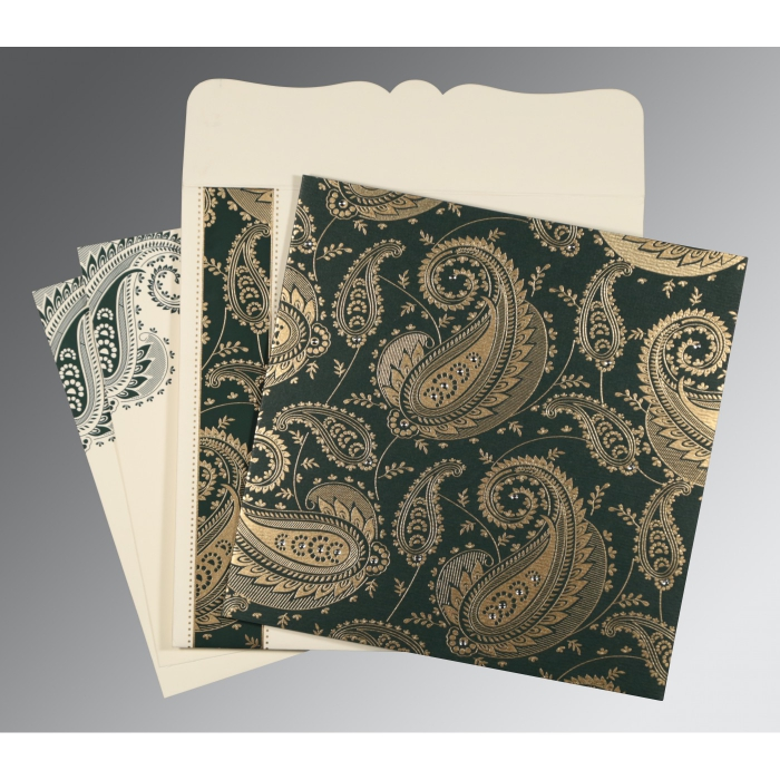 Green Matte Paisley Themed - Screen Printed Wedding Card : D-8250C - 123WeddingCards