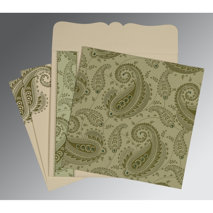 Green Matte Paisley Themed - Screen Printed Wedding Card : IN-8250G - 123WeddingCards