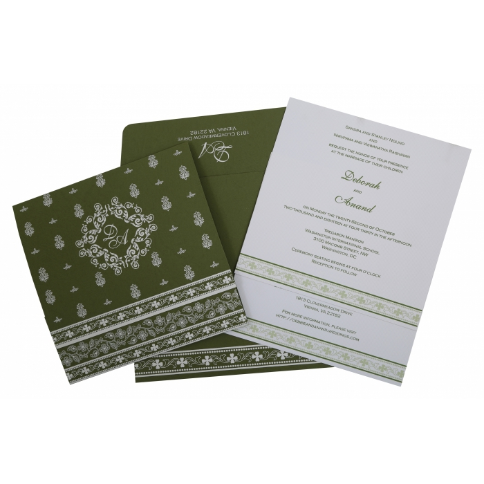 GREEN MATTE SCREEN PRINTED WEDDING INVITATION : IN-808A - 123WeddingCards