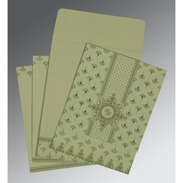 Green Matte Screen Printed Wedding Invitation : I-8247L - 123WeddingCards