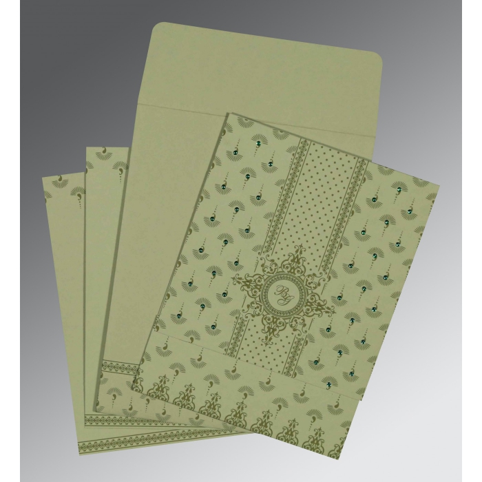 SAGE GREEN MATTE SCREEN PRINTED WEDDING INVITATION : W-8247L - 123WeddingCards