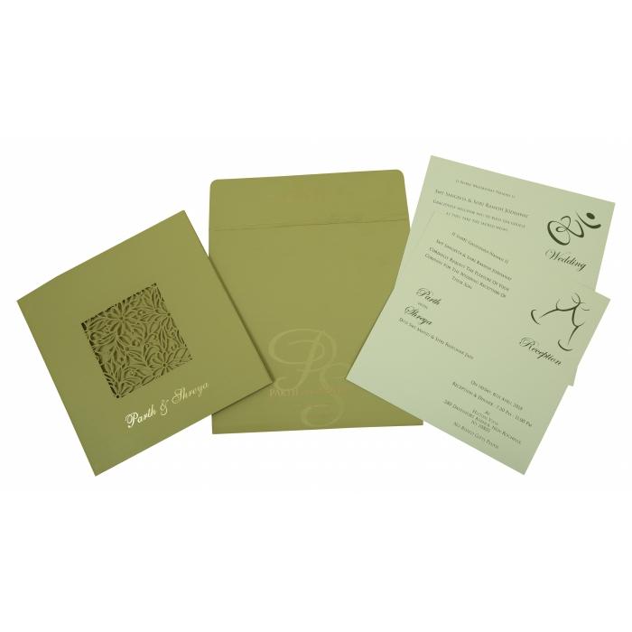 PISTA GREEN MATTE FLORAL THEMED - LASER CUT WEDDING INVITATION : C-1812 - 123WeddingCards