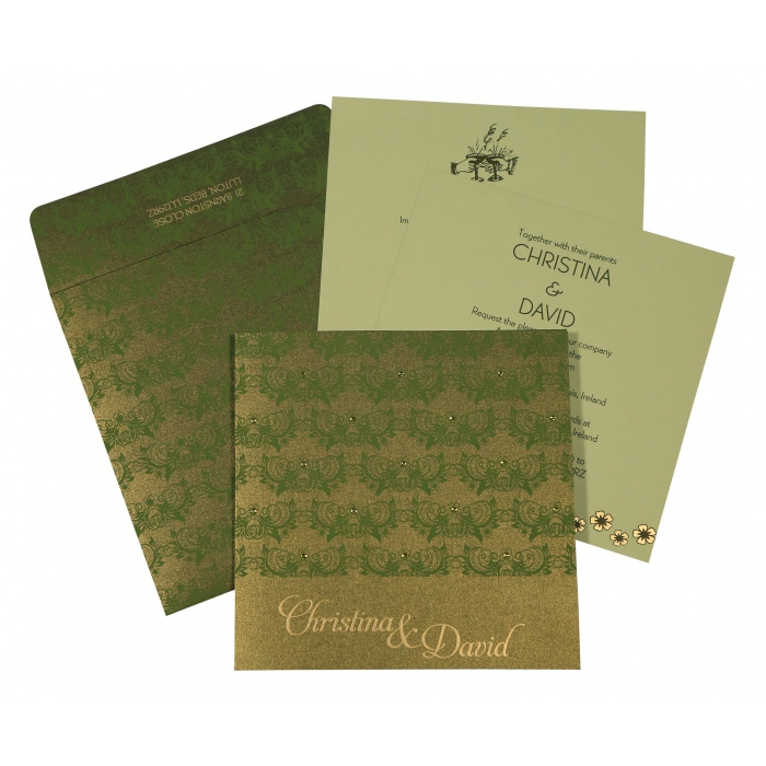 DARK GREEN SHIMMERY BUTTERFLY THEMED - SCREEN PRINTED WEDDING CARD : C-8258B - 123WeddingCards