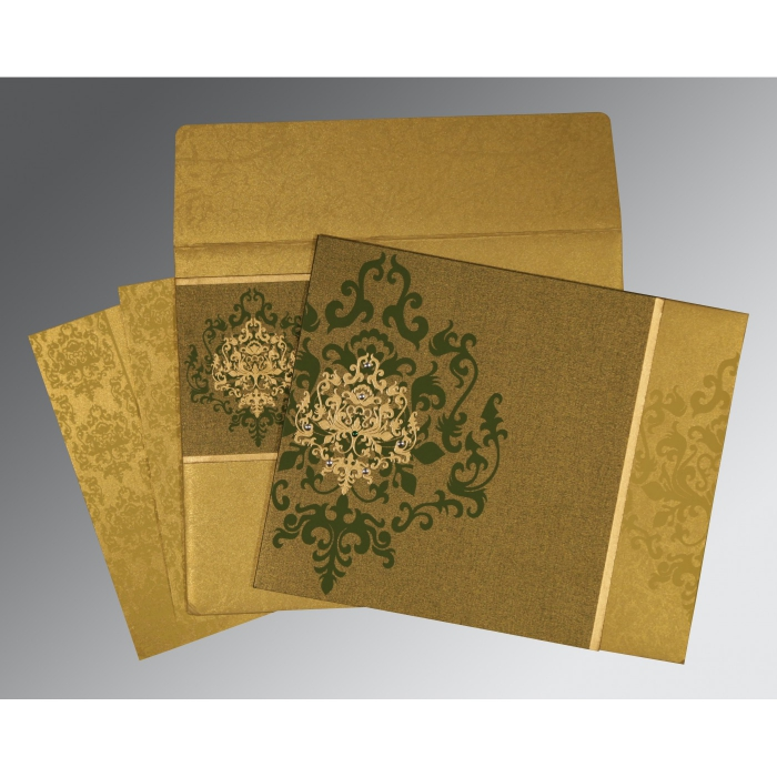 Green Shimmery Damask Themed - Screen Printed Wedding Card : I-8253C - 123WeddingCards