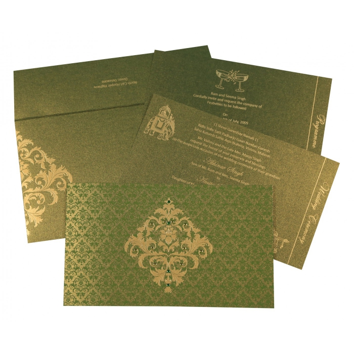 Green Shimmery Damask Themed - Screen Printed Wedding Card : I-8257A - 123WeddingCards