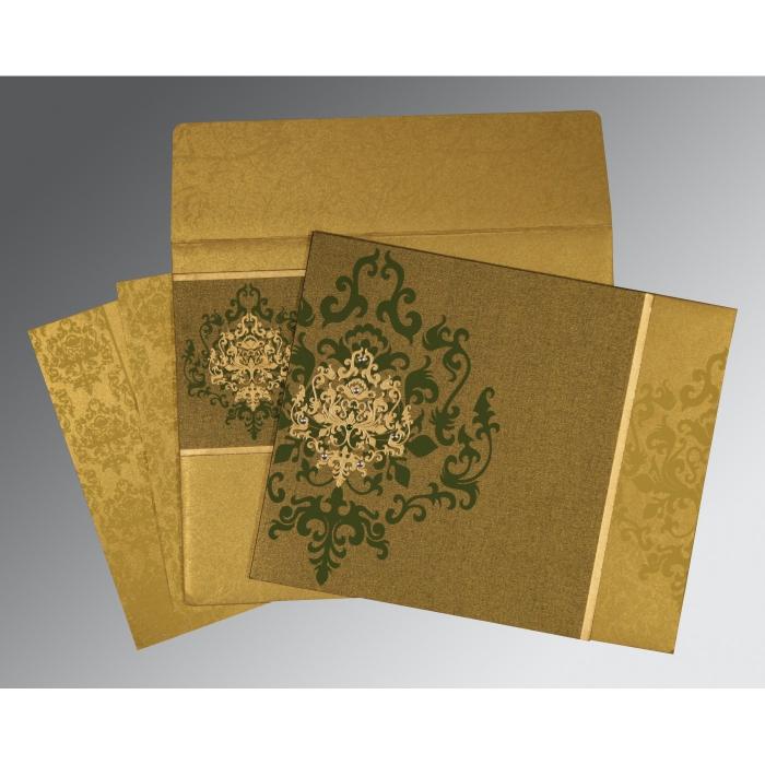 Green Shimmery Damask Themed - Screen Printed Wedding Card : RU-8253C - 123WeddingCards