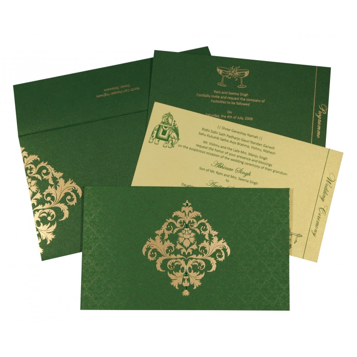 DARK GREEN SHIMMERY DAMASK THEMED - SCREEN PRINTED WEDDING CARD : W-8257F - 123WeddingCards