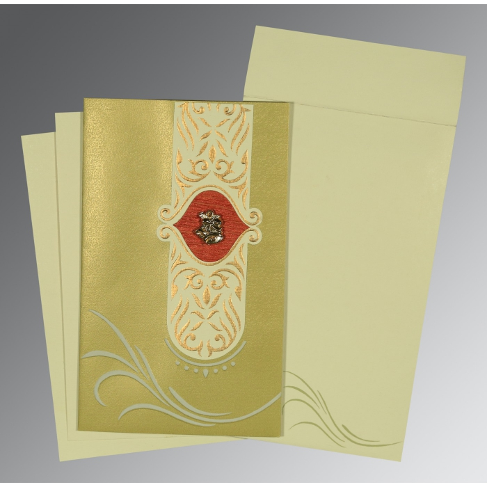 Green Shimmery Embossed Wedding Card : C-1317 - 123WeddingCards