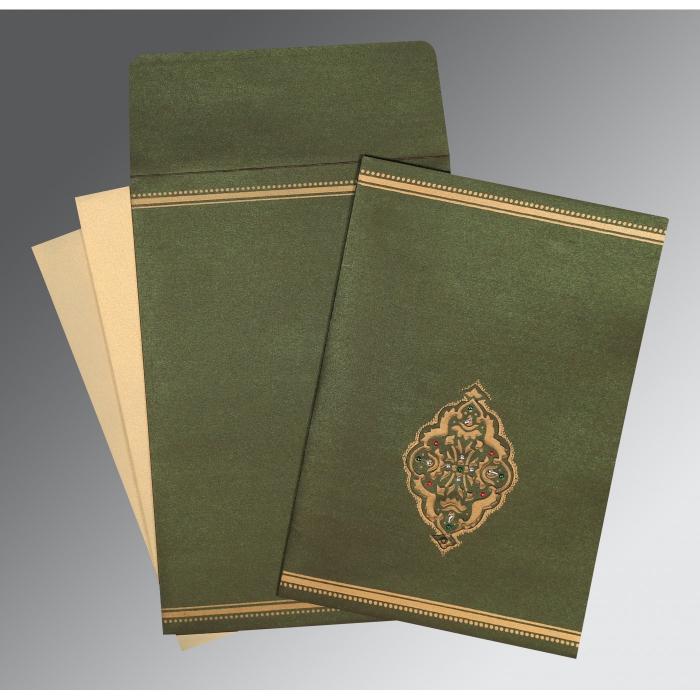 DARK OLIVE GREEN SHIMMERY EMBOSSED WEDDING CARD : D-1388 - 123WeddingCards