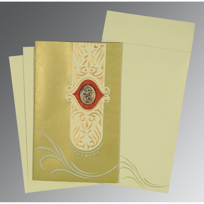 Green Shimmery Embossed Wedding Card : I-1317 - 123WeddingCards