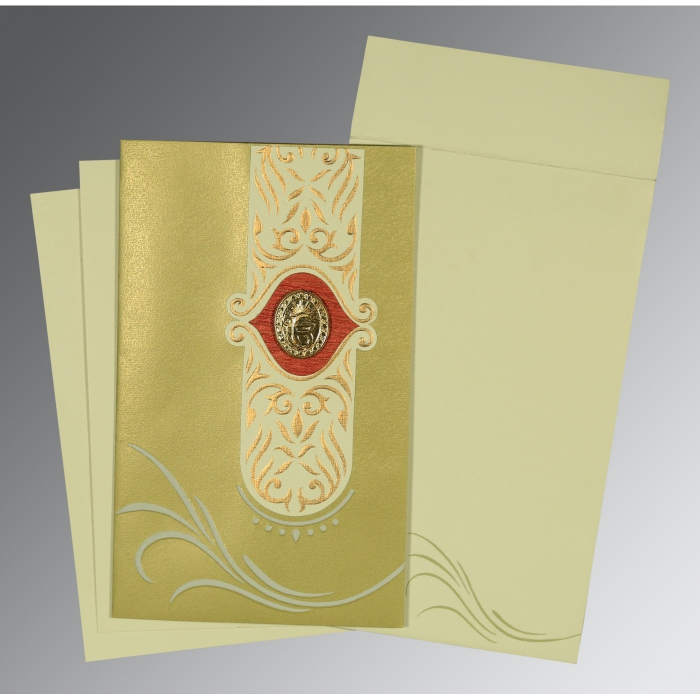 Green Shimmery Embossed Wedding Card : RU-1317 - 123WeddingCards