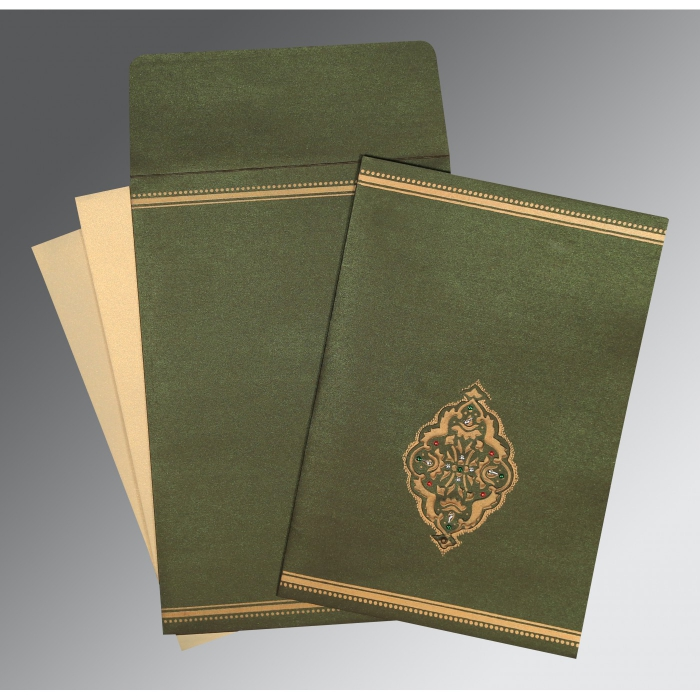 DARK OLIVE GREEN SHIMMERY EMBOSSED WEDDING CARD : W-1388 - 123WeddingCards