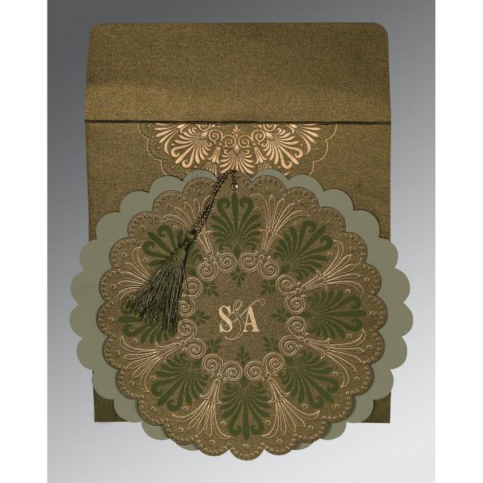 DARK OLIVE GREEN SHIMMERY FLORAL THEMED - EMBOSSED WEDDING CARD : C-8238K - 123WeddingCards