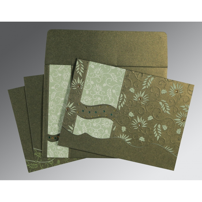 DEEP SAGE SHIMMERY FLORAL THEMED - EMBOSSED WEDDING INVITATION : D-8236H - 123WeddingCards