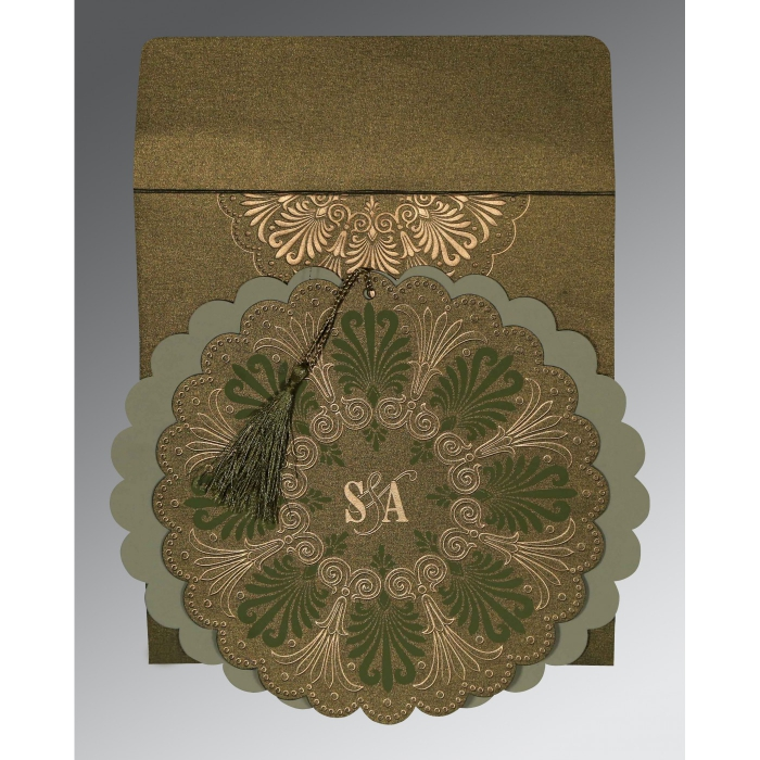 DARK OLIVE GREEN SHIMMERY FLORAL THEMED - EMBOSSED WEDDING CARD : W-8238K - 123WeddingCards