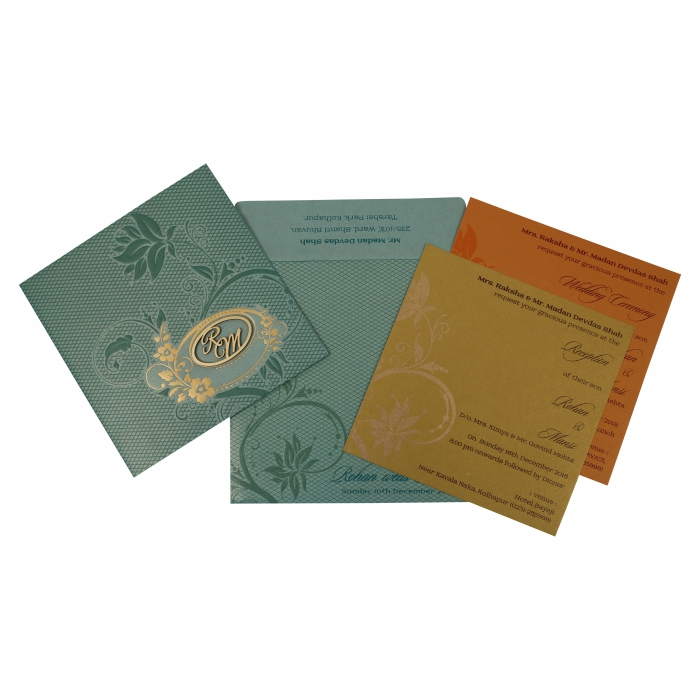 Green Shimmery Floral Themed - Foil Stamped Wedding Invitation : W-1773 - 123WeddingCards