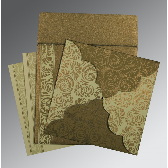GREEN SHIMMERY FLORAL THEMED - SCREEN PRINTED WEDDING CARD : C-8235A - 123WeddingCards