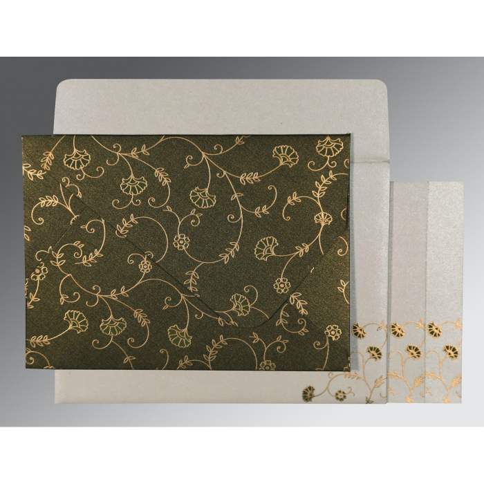 DARK OLIVE GREEN SHIMMERY FLORAL THEMED - SCREEN PRINTED WEDDING INVITATION : D-8248D - 123WeddingCards
