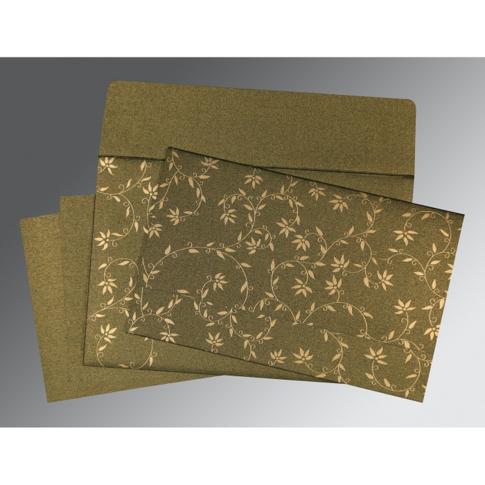 Green Shimmery Floral Themed - Screen Printed Wedding Invitations : S-8226Q - 123WeddingCards