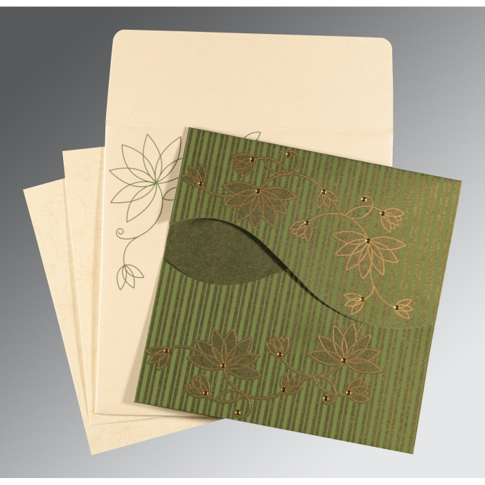 Green Shimmery Floral Themed - Screen Printed Wedding Invitation : SO-8251K - 123WeddingCards