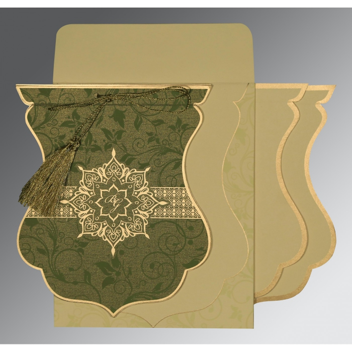 OLIVE GREEN SHIMMERY FLORAL THEMED - SCREEN PRINTED WEDDING CARD : W-8229P - 123WeddingCards