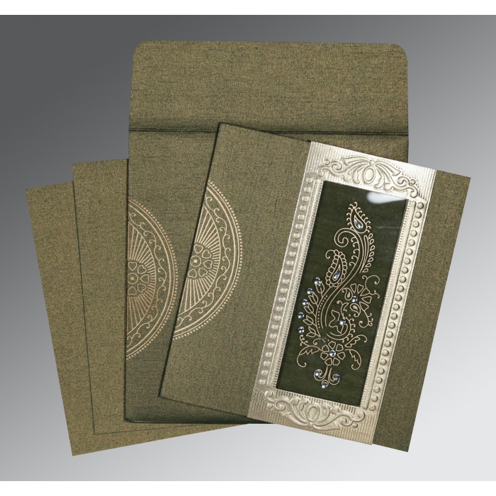 DEEP GREEN SHIMMERY PAISLEY THEMED - FOIL STAMPED WEDDING INVITATION : W-8230L - 123WeddingCards