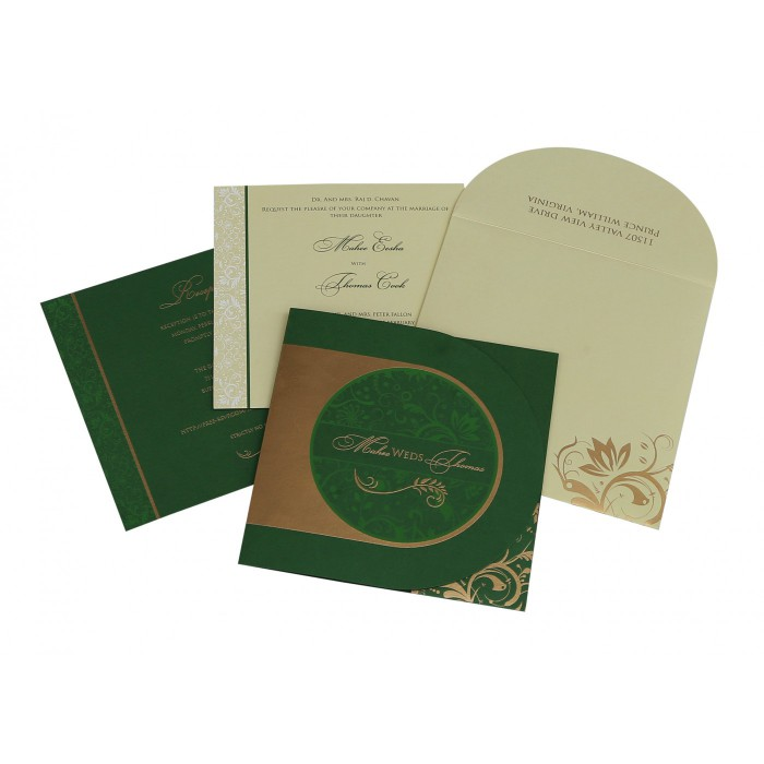 Green Shimmery Paisley Themed - Screen Printed Wedding Card : IN-8264J - 123WeddingCards