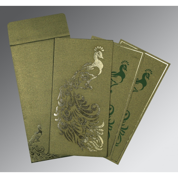 Green Shimmery Peacock Themed - Laser Cut Wedding Invitations : W-8255D - 123WeddingCards
