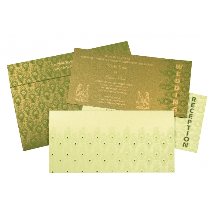 PALE YELLOW SHIMMERY PEACOCK THEMED - SCREEN PRINTED WEDDING INVITATION : W-8256F - 123WeddingCards